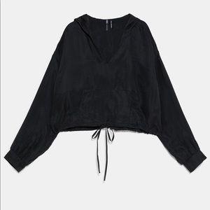 Zara cropped hoodie sweatshirt